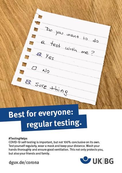 """Poster #Testing helps, motif """"Note"""" (UK BG)"""