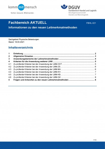 """FBHL-021 """"Informationen zu den neuen Leitmerkmalmethoden"""""""
