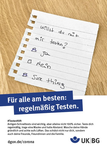 "Plakat #Testen hilft, Motiv ""Zettel"" (UK|BG) Hochformat"
