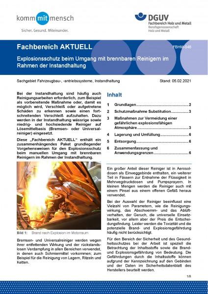 """FBHM-048 """"Explosionsschutz beim Umgang mit brennbaren Reinigern im Rahmen der Instandhaltung""""-Copy"""