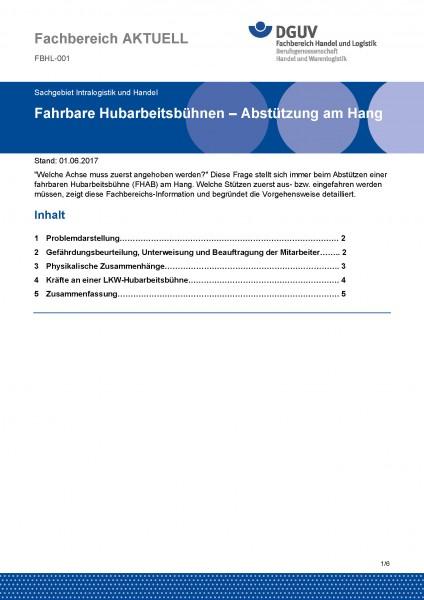 """FBHL-001 """"Fahrbare Hubarbeitsbühnen - Abstützung am Hang"""""""