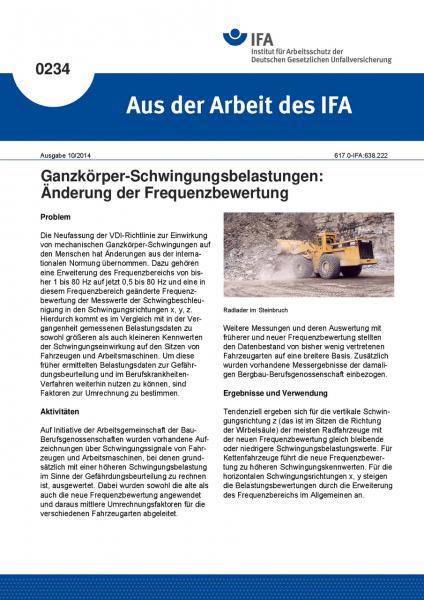Ganzkörper-Schwingungsbelastungen: Änderung der Frequenzbewertung. Aus der Arbeit des IFA Nr. 0234