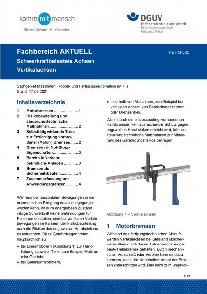 """FBHM-005 """"Schwerkraftbelastete Achsen - Vertikalachsen"""""""
