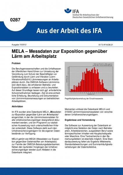 MELA - Messdaten zur Exposition gegenüber Lärm am Arbeitsplatz. Aus der Arbeit des IFA Nr. 0287