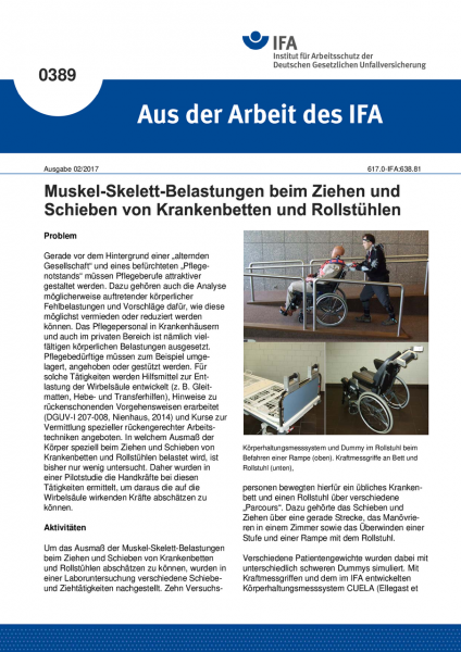 """Muskel-Skelett-Belastungen beim Ziehen und Schieben von Krankenbetten und Rollstühlen (""""Aus der Arbe"""