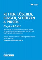 """Plakat #ImpfenSchützt, Motiv """"Retten, Löschen, Bergen, Schützen & Piksen"""" (DGUV) Hochformat"""