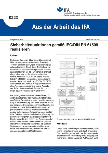 Sicherheitsfunktionen gemäß IEC/DINEN61508 realisieren. Aus der Arbeit des IFA Nr. 0223