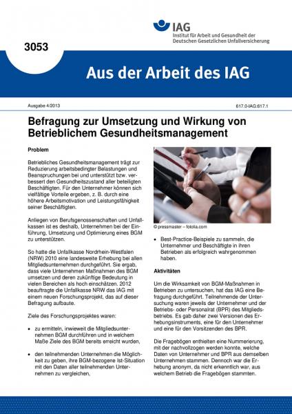 Befragung zur Umsetzung und Wirkung von Betrieblichem Gesundheitsmanagement. Aus der Arbeit des IAG