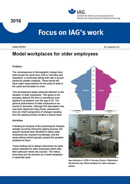 Model workplaces for older employees (Focus on IAG´s work 3016)