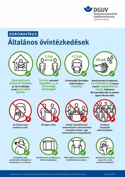 "Koronavirus - Általános óvintézkedések (Plakat ""Coronavirus - Allgemeine Schutzmaßnahmen"" in ungaris"