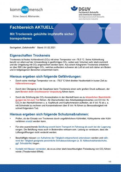 """FBRCI-102 """"Mit Trockeneis gekühlte Impfstoffe sicher transportieren"""""""