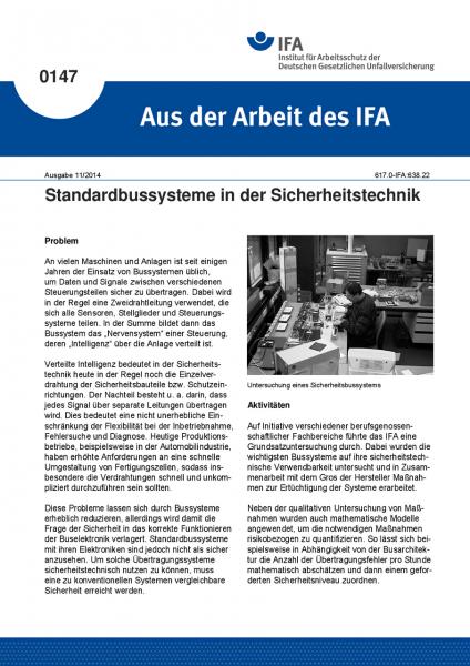 Standardbussysteme in der Sicherheitstechnik. Aus der Arbeit des IFA Nr. 0147