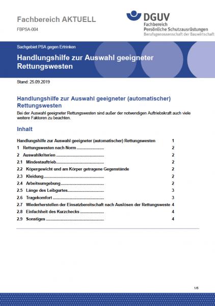 """FBPSA-004 """"Handlungshilfe zur Auswahl geeigneter Rettungswesten"""""""