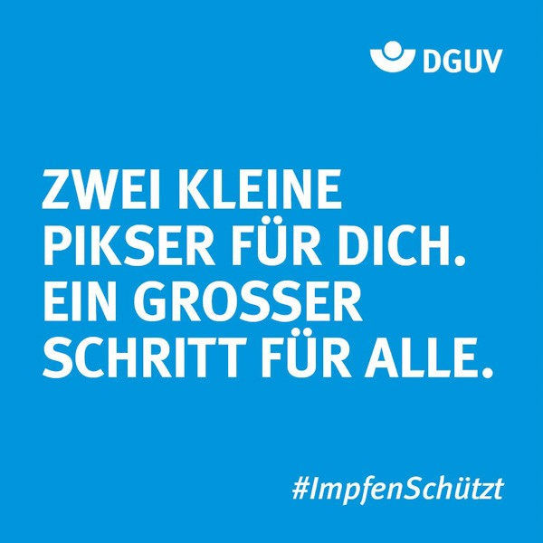 """Motiv #ImpfenSchützt, """"Zwei kleine Pikser"""" (DGUV)"""