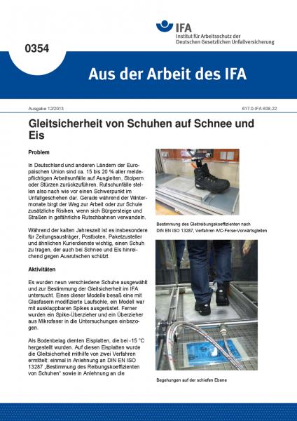 Gleitsicherheit von Schuhen auf Schnee und Eis (Aus der Arbeit des IFA Nr. 0354)