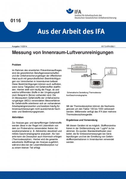 Messung von Innenraum-Luftverunreinigungen. Aus der Arbeit des IFA Nr. 0116