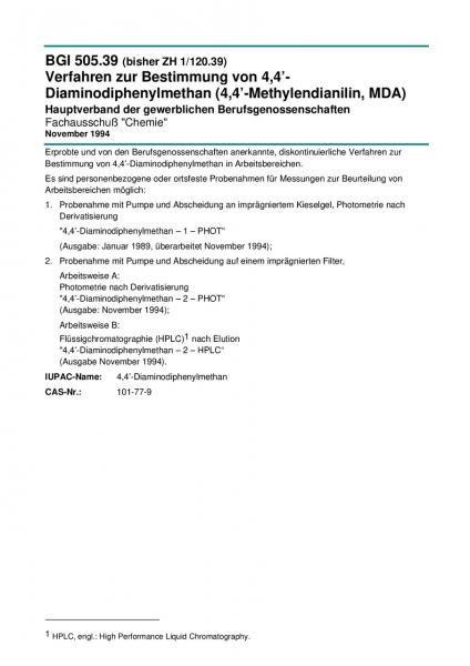 Verfahren zur Bestimmung von 4,4'-Diaminodiphenylmethan (4,4'-Methylendianilin, MDA)