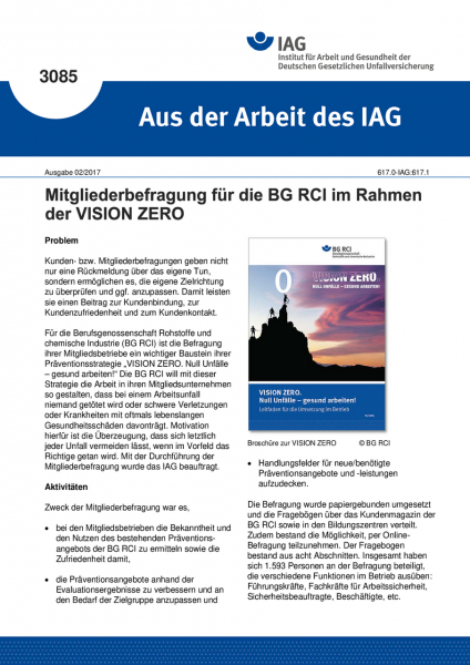 """Mitgliederbefragung für die BG RCI im Rahmen der VISION ZERO (""""Aus der Arbeit des IAG"""" Nr. 3085)"""