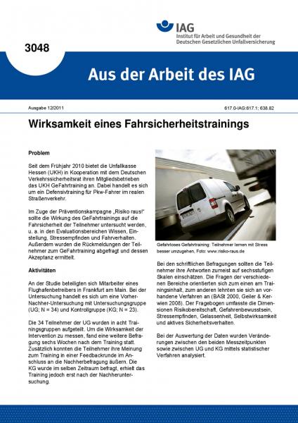 Wirksamkeit eines Fahrsicherheitstrainings. Aus der Arbeit des IAG Nr. 3048