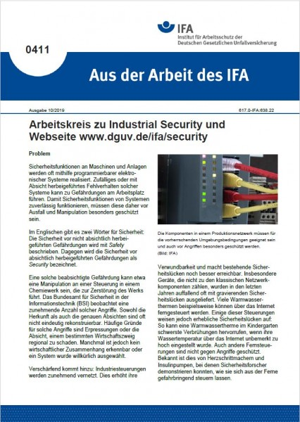 Arbeitskreis zu Industrial Security und Webseite www.dguv.de/ifa/security (Aus der Arbeit des IFA 04