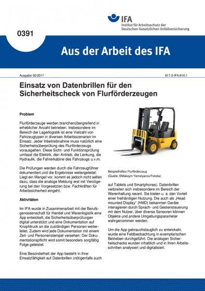 """Einsatz von Datenbrillen für den Sicherheitscheck von Flurförderzeugen (""""Aus der Arbeit des IFA"""" Nr."""