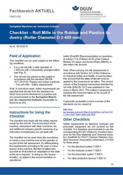"FBRCI-002 ""Checklist – Roll Mills in the Rubber and Plastics Industry (Roller Diameter D ≥ 400 mm)"""