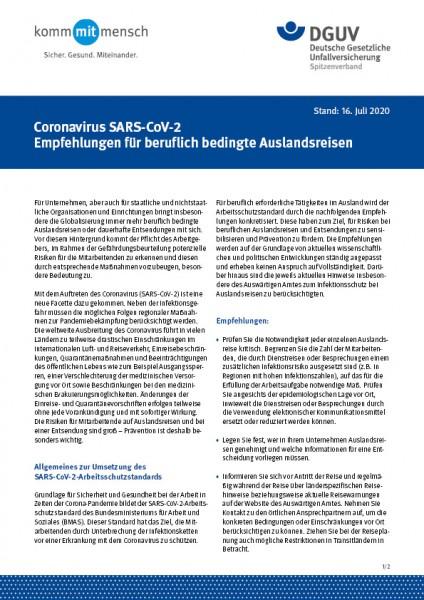 Coronavirus (SARS-CoV-2) Empfehlungen für beruflich bedingte Auslandsreisen