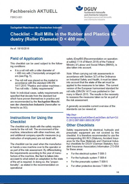 "FBRCI-001 ""Checklist – Roll Mills in the Rubber and Plastics Industry (Roller Diameter D < 400 mm)"""