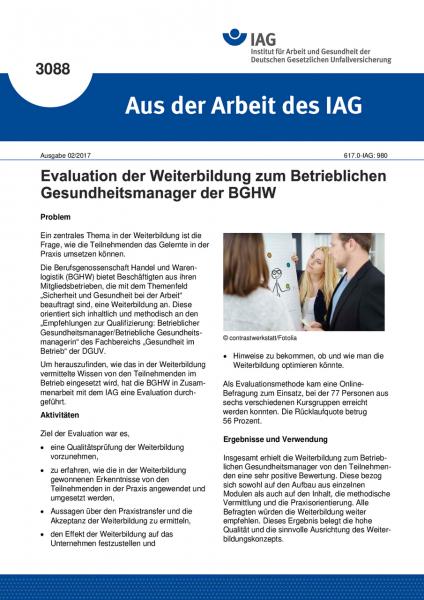"""Evaluation der Weiterbildung zum Betrieblichen Gesundheitsmanager der BGHW (""""Aus der Arbeit des IAG"""""""
