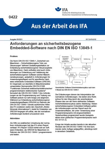Anforderungen an sicherheitsbezogene Embedded-Software nach DIN EN ISO 13849-1