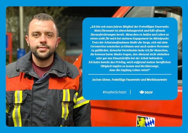 """Plakat #ImpfenSchützt, Motiv """"Jochen Ulmer"""" (DGUV) Querformat"""