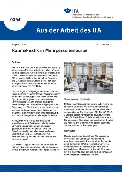 Raumakustik in Mehrpersonenbüros (Aus der Arbeit des IFA Nr. 0394)