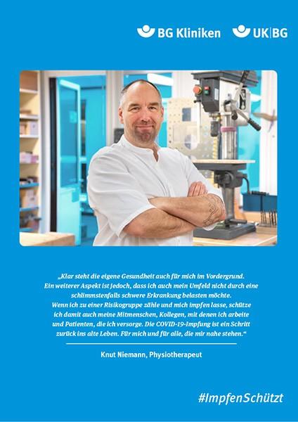 Plakat #ImpfenSchützt, Motiv: Knut Niemann (UK|BG und BG Kliniken) Hochformat