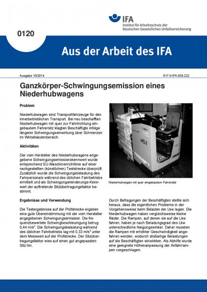 Ganzkörper-Schwingungsemission eines Niederhubwagens. Aus der Arbeit des IFA Nr. 0120