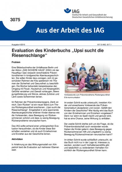 """Evaluation des Kinderbuchs """"Upsi sucht die Riesenschlange"""" (Aus der Arbeit des IAG Nr. 3075)"""