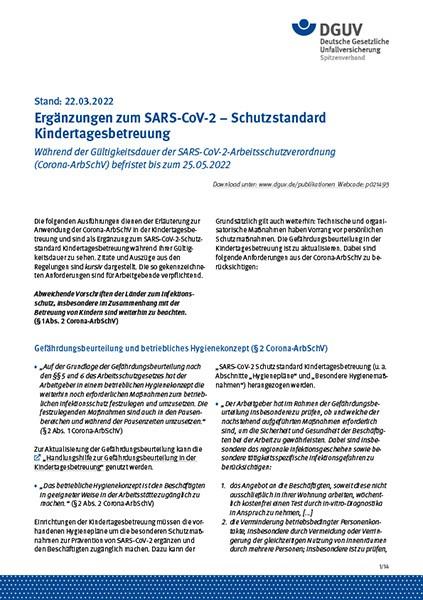 SARS-CoV-2 – Schutzstandard Kindertagesbetreuung
