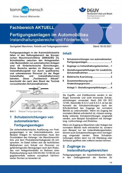 """FBHM-059 """"Fertigungsanlagen im Automobilbau - Instandhaltungsbereiche und Fördertechnik"""""""