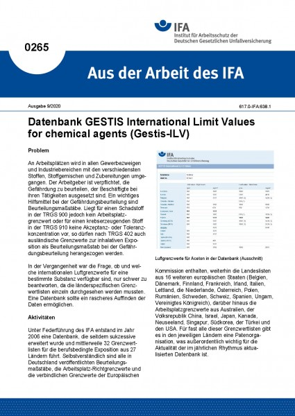 Datenbank GESTIS International Limit Values for chemical agents (Gestis-ILV) (Aus der Arbeit des IFA