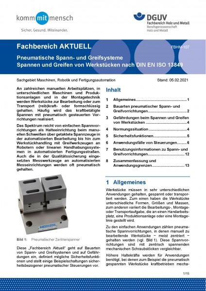 """FBHM-107 """"Pneumatische Spann- und Greifsysteme - Spannen und Greifen von Werkstücken nach DIN EN ISO"""