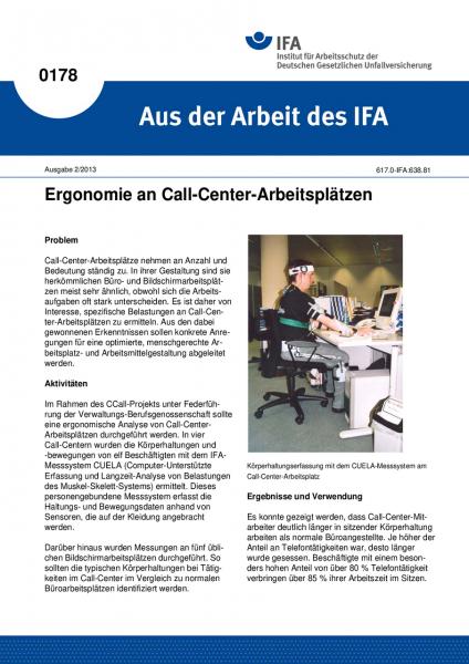 Ergonomie an Call-Center-Arbeitsplätzen. Aus der Arbeit des IFA Nr. 0178