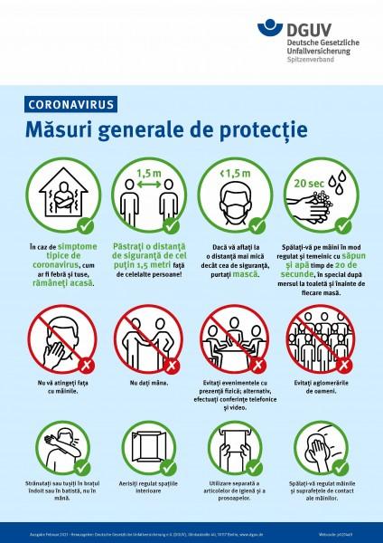 "Coronavirus - Măsuri generale de protecție (Plakat ""Coronavirus - Allgemeine Schutzmaßnahmen"" in rum"