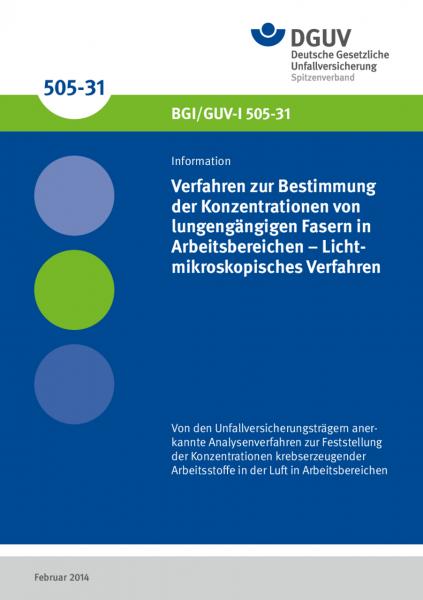 Verfahren zur Bestimmung der Konzentrationen von lungengängigen Fasern in Arbeitsbereichen - Lichtmi