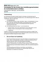 Grundsätze für den Erwerb des Ausbildungsnachweises für Aufsichtführende im Zeltbau