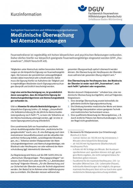 Fachinformation - Medizinische Überwachung bei Atemschutzübungen