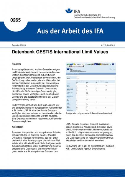 Datenbank GESTIS International Limit Values. Aus der Arbeit des IFA Nr. 0265