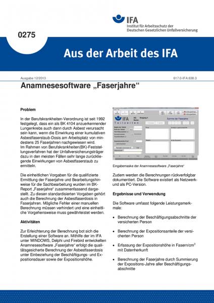 """Anamnesesoftware """"Faserjahre"""". Aus der Arbeit des IFA Nr. 0275"""