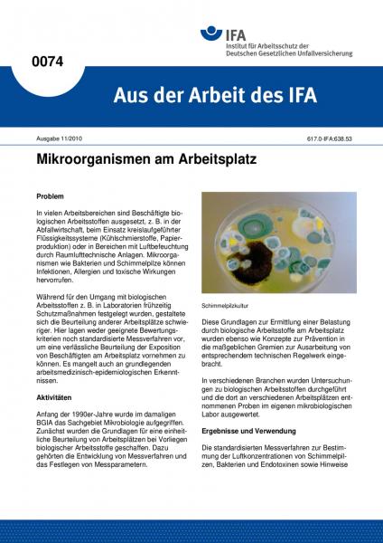 Mikroorganismen am Arbeitsplatz. Aus der Arbeit des IFA Nr. 0074