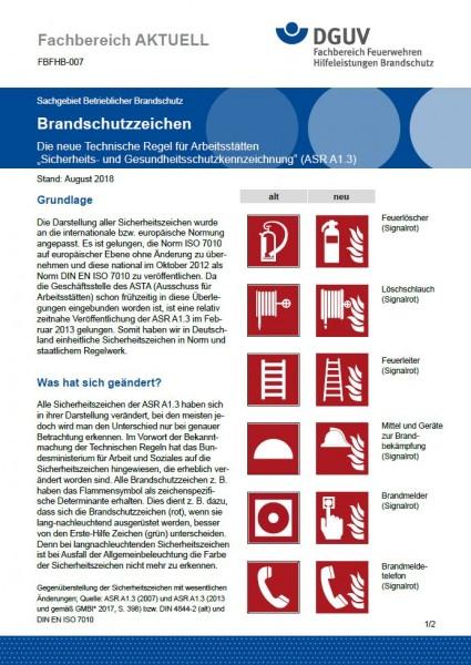 """FBFHB-007 """"Brandschutzzeichen - Die neue Technische Regel für Arbeitsstätten """"Sicherheits- und Gesun"""