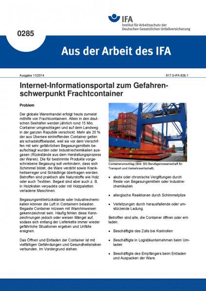 Internet-Informationsportal zum Gefahrenschwerpunkt Frachtcontainer. Aus der Arbeit des IFA Nr. 0285