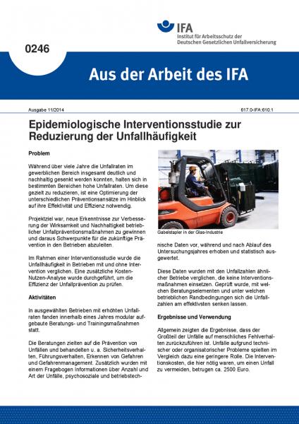 Epidemiologische Interventionsstudie zur Reduzierung der Unfallhäufigkeit. Aus der Arbeit des IFA Nr
